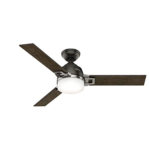"Hunter 59219 48"" Leoni Ceiling Fan with Light with Handheld Remote  Small  Noble Bronze/Brushed Nickel - B01CDFZTQY"