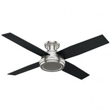"Hunter 59247 Dempsey Low Profile Brushed Nickel Ceiling Fan With Remote  52"" - B01CDG0A8U"