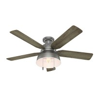 "Hunter 59311 Mill Valley 52"" Ceiling Fan with Light  Large  Matte Silver - B06XMQBH5T"