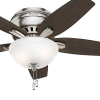 "Hunter Fan 42"" Hugger Ceiling Fan in Brushed Nickel with Cased White Glass Light Kit  5 Blade (Certified Refurbished) - B06XDY2LJM"