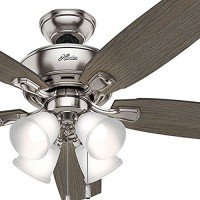 Hunter Fan 52 in. Brushed Nickel Ceiling Fan with Four Dimmable LED Lights (Certified Refurbished) - B07C41C6C9