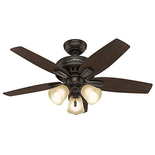"Hunter Fan Company 51084 Newsome Ceiling Fan with Light  42""/Small  Premier Bronze - B01C2A17UC"