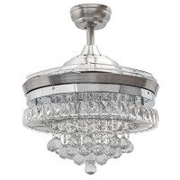 Huston Fan 42 Inches Chrome Crystal Ceiling Fan Light Remote Control Chandelier Ceiling Fan With 4 Clear Retractable Blades Bedroom Living Room Light Fixtures Ceiling Fan - B0718V7YYJ