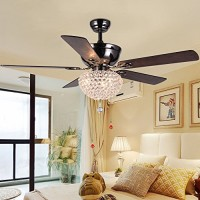 LuxureFan Modern Crystal Ceiling Fan Lihgt with 5 Premium Reverse Wood Leaves and Elegant Crystal Lampshade Pull Chain Decoration for Home Dining Room Restaurant of Mahogany (52Inch) - B075R6NQ75