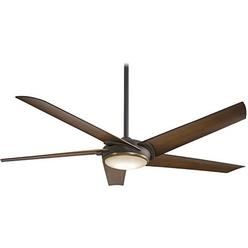 "Minka-Aire F617L-ORB/AB  Raptor 60"" Ceiling Fan with LED Light  Oil Rubbed Bronze and Antique Brass Finish with Toned Tobacco Blades - B01BDL8SJ4"