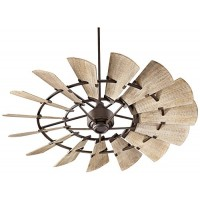 Quorum 96015-86 Windmill Ceiling Fan in Oiled Bronze with Weathered Oak Blades - B01GA6RBK4