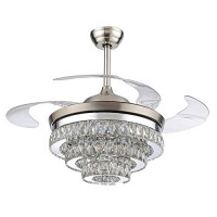 RS Lighting European Crystal Ceiling Fan-42 inch with Retractable Four Blades and Remote Control Silent Fan Chandelier for Indoor Living Bedroom-Chrome - B06Y4517PB