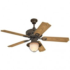Westinghouse 7877820 Lafayette Single-Light 52-Inch Five-Blade Indoor/Outdoor Ceiling Fan  Weathered Iron with Yellow Alabaster Glass - B003RCJCIY