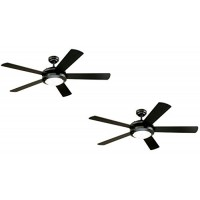 Westinghouse Comet 52-Inch Matte Black Indoor Ceiling Fan  Light Kit with Frosted Glass (Black 2 Pack) - B07FPNKRGH