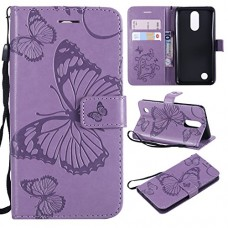 ARSUE LG K20 Case  LG K20 Plus Wallet Case Leather Folio Flip PU Phone Protective Case Cover with Card Holder & Kickstand for LG K20/LG K20 Plus/LG K20 V/LV5/K10 2017/LG Harmony Butterfly Light Purple - B07FJWCLP9