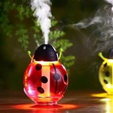 FollowFar Air Humidifier Cool Mist Humidifier Beetle Cartoon Shape 360 Degree Rotating Mini USB Humidifier for Car Office Home Desktop Water Supply Atomizer LED Light |(Red) - B077MHNPWP