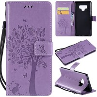 Galaxy Note 9 Case Samsung Note 9 Case PU Leather Case Emboss Floral Flower Love Tree & Cat Premium Wallet Flip Protective Case Cover with Card Slots KickStand for Samsung Galaxy Note 9 Light Purple - B07GGZCFS9