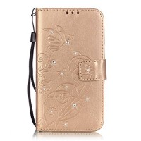 Galaxy S5 Neo Case Galaxy S5 Case Phezen Beauty Luxury Bling Crystal Rhinestone Diamond Embossed Flower Butterfly PU Leather Flip Stand Wallet Case Card/Cash Slots for Samsung Galaxy S5 / S5 Neo Gold - B01JUDRPPA