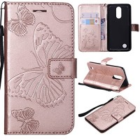 LG Aristo Case LG Phoenix 3 Case LG Fortune Case LG Risio 2 Case LG Rebel 2 LTE Wallet Folio Flip PU Leather Butterfly Cover with Credit Card Holder Slots Kickstand Phone Case for LG K8 2017 Rose Gold - B07G6PN42L