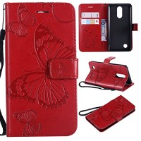 LG Aristo Case  LG Rebel 3 LTE Case  LG Phoenix 3 Case  LG Fortune Case  LG Rebel 2 LTE Case  LG Risio 2 Case  LG K8 2017 Case Wallet Leather Folio Card Holder Phone Case Cover Butterfly Red - B07FCL3V3S
