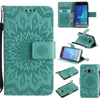 NOMO Galaxy Luna Case Galaxy Amp 2 Wallet Case Galaxy Express 3 Flip Case PU Leather Emboss Mandala SUN Flower Folio Magnetic Kickstand Cover with Card Slots for Samsung Galaxy Luna/J1 2016 Green - B07DP1QJP1