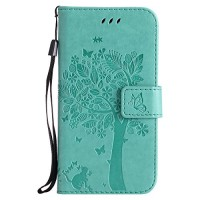 NOMO Galaxy S5 Case Samsung S5 Wallet Case Galaxy S5 Flip Case PU Leather Emboss Tree Cat Flowers Folio Magnetic Kickstand Cover with Card Slots for Samsung Galaxy S5 I9600 Teal - B07DYSLLJQ