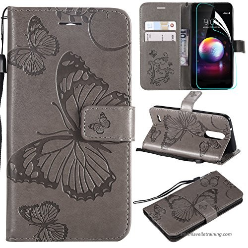 NOMO LG K30 Case with Screen Protector LG Premier Pro LTE Case LG Phoenix  Plus/LG K10 Alpha Case Wallet Flip Leather Butterfly Case Cover with Card