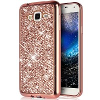 PHEZEN Galaxy J2 Case  Galaxy J2 Luxury Glitter Sparkle Bling Case  Electroplated Soft Flexible TPU Bumper Crystal Diamond Protective Back Case Cover for Samsung Galaxy J2  Rose Gold - B06XSXG64T