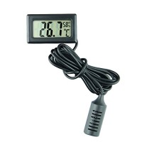ETHMEAS Mini Digital Temperature Humidity Meter Gauge Thermometer Hygrometer with LCD Display and 1.5M Long Probe Black for Vehicle  Aquarium Reptile Room  Gardening  Pet Keeping  Humidor Incubator - B076M536D7
