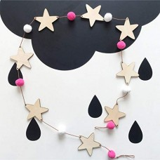 Blue Stones Wooden Wind Chimes Star Beads Garland Home Decor Nordic Style Kids Decoration Ornament Banners Hanging Curtains Gifts - B07G6XSWDF