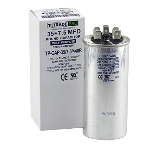 30 + 7.5 mfd Dual Capacitor  Industrial Grade Replacement for Central Air-Conditioners  Heat Pumps  Condenser Fan Motors  and Compressors. Round Multi-Purpose 370/440 Volt - by Trade Pro - B07DXG7NCG
