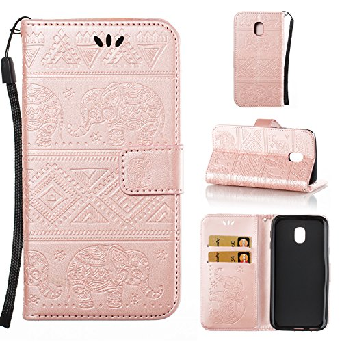 DAMONDY J3 2018 Case J3 Achieve J3 Express Prime 3  Elephant Embossed Flowers PU Leather Magnetic Flip Cover Stand Card Holders & Hand Strap Wallet Purse Case for Samsung Galaxy J3 2018-rose gold - B07FP5Q66P