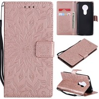 Moto G6 Play Case Moto G6 Forge Case Moto E5 Case Wallet Case PU leather Case Sun Flower Pattern Embossed Purse with Kickstand Flip Cover Card Holders Hand Strap for Moto G6 Play Rose Gold - B07GNGJMP8